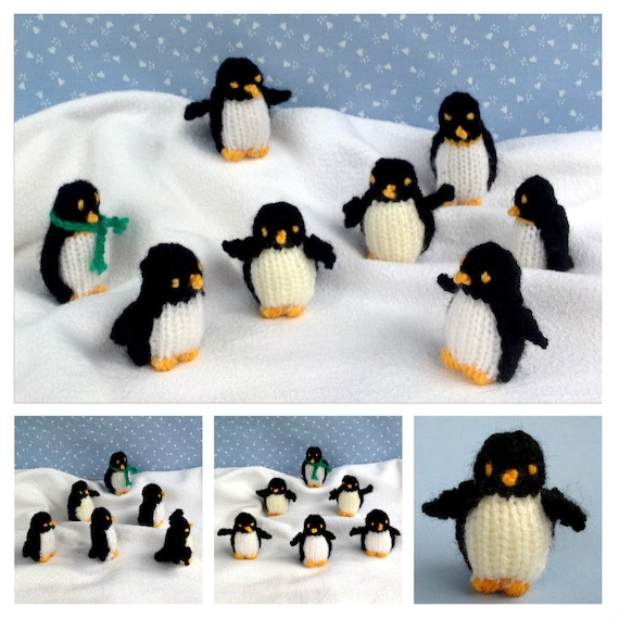 Tiny Penguins Knitted Penguin Knitting Pattern Instant Etsy