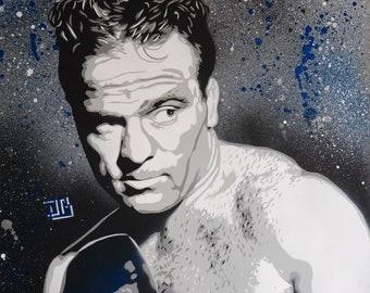 Marcel Cerdan. Stencil spray paint on wood, 40 x 50 cm frame.
