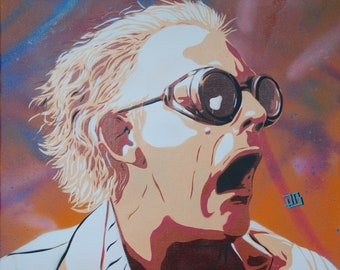 Christopher Lloyd aka Doc Emmett Brown in the trilogy back to the future. Stencil spray paint on canvas, 54 x 65 cm.
