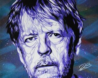 Renaud. Stencil spray paint on wood, 40 x 50 cm frame.