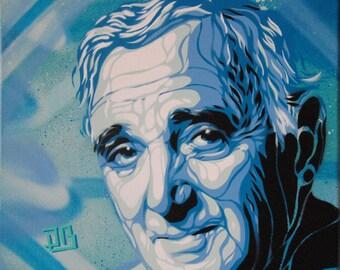 Charles Aznavour. Stencil spray paint on canvas, 30 x 30 cm.