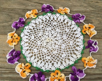 Orange , Purple Pansy Crochet Doily