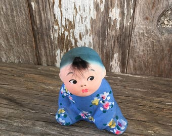 Vintage ceramic Chinese little girl figurine with box