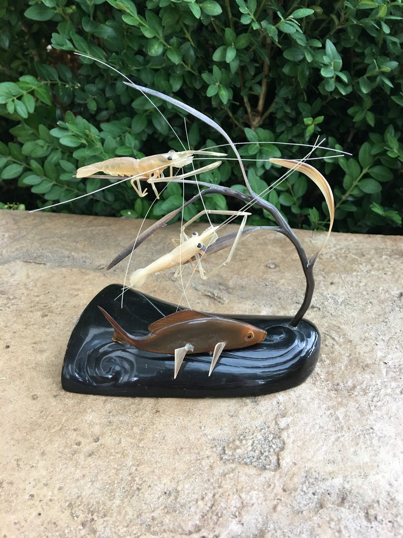 Vintage Carved Horn Shrimp and Fish Sculpture