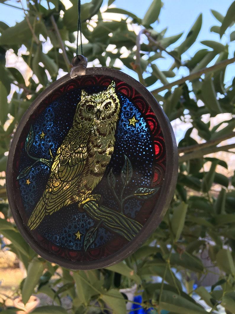 Owl Design Beautiful Glass Sun Catcher