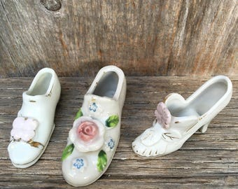 Set of three porcelain shoes, slippers, made in Japan