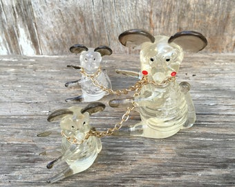 Vintage Plastic Mouse with Baby Mice on Chains
