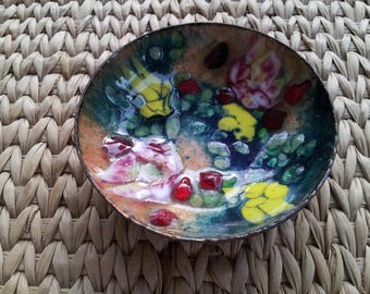 Mid Century Metalware Enamel on Copper Dish