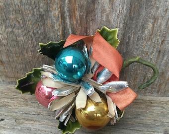 Vintage Christmas Small Corsage, Glass Balls