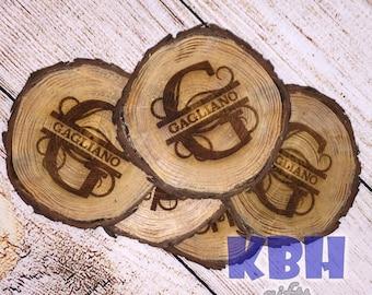 Laser Engraved Rustic Tree Coasters: Set of 5