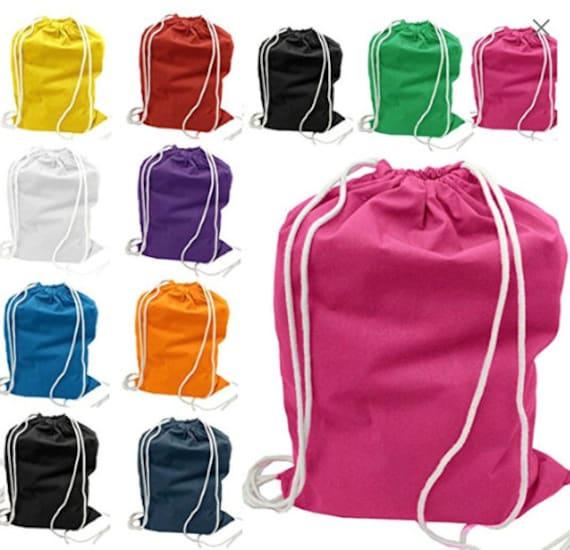 Canvas Monogrammed Drawstring Backpack image 1