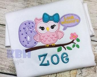 Embroidered Owl Birthday Shirt