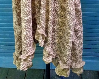 Handmade Cinnamon Brown Slip Dress Tunic One of a Kind Ruffles Floral Lace One Size Fit Scoop Neck Lagenlook Layered Simple Rustic Country