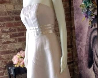 90s Vintage Wedding Dress Hand Dyed Gray Satin Ribbon Trim Stripes Bow Organza A Line Strapless Simple Elegant Beach Elopement Garden Size S