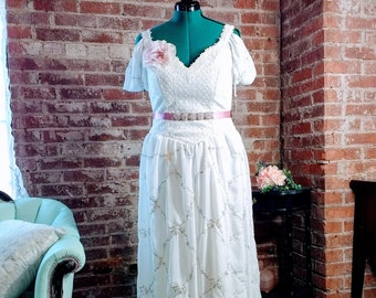 Hand made wedding dress, cottagecore vintage wedding dress, ruffle wedding dress, mori dress, drape sleeve wedding dress, pink wedding dress
