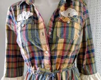 Upcycled womens plaid shirt dress tunic, matching belt, vintage cotton crocheted lace trim, button down front pockets Size S. Eco friendly