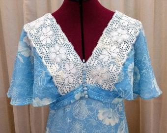 Vintage 70s Blue Maxi Dress Cotton Voile Ruffles Lace Light Flowers Flutter Sleeves V Neck Tie Back Flowy Cottage Core Empire Waist - XS