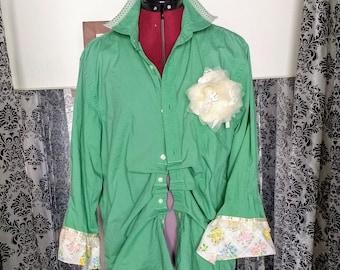 Upcycled clothing for women, Upcycled shirts for women, Upcycled top, Upcycled clothing boho, Hand made vintage shirt, cottage core clothing