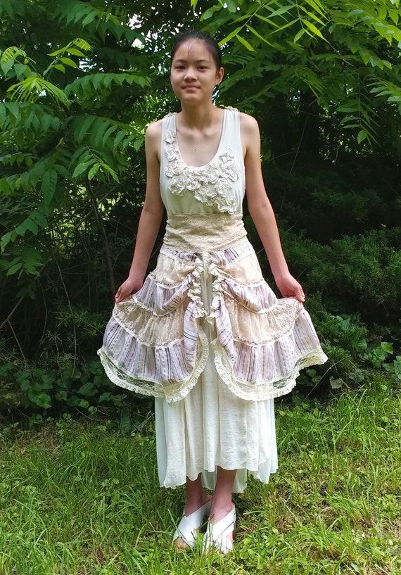 c30d5ac56bd7 Peasant Boho Upcycled Wedding Gown Ecru Cream Champagne