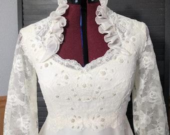 Vintage Wedding Dress 1970s High Neck Victorian Lace Sleeves Chiffon Ruffles Layers Ivory, Modest, Bridal, White Lace Wedding Dress, XS - S