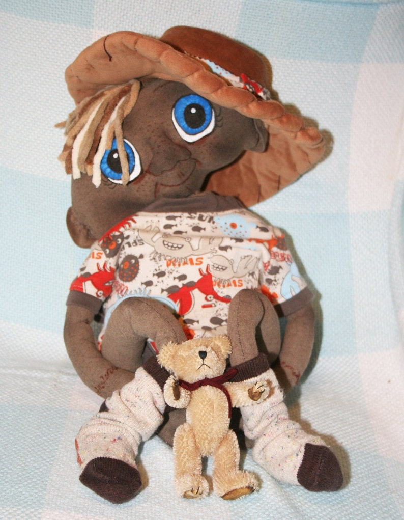 Alien fantasy baby cloth doll 20 inch w/ diaper outfit and toy image 0