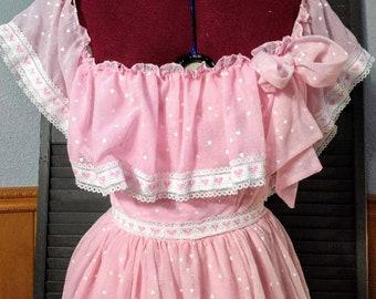 Authentic Vintage 1970s Pink Ruffle Wedding Party Cocktail Prom Dress Princess Dress Flirtations Layered Hearts Gauzy Cotton Blend - XS