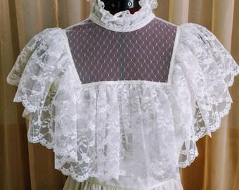 Vintage 70s White Wedding Dess Victorian Ruffles Ribbon Trim Lace Flowers Cap Sleeves High Neck Victorian Candi Jones Bridal Gown - XS