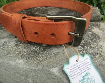 Hermann Oak Harness Leather Rugged Full Grain Leather custom belt- new with a rustic broken in  look