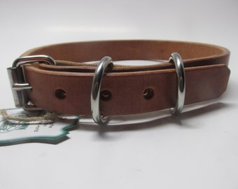 Hermann Oak Harness leather dog collar