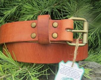 Hermann Oak Harness Leather Men's  thick work belt, gun belt, casual belt.  Made in US with US hides.  Custom made, Rugged Belt, Thick belt