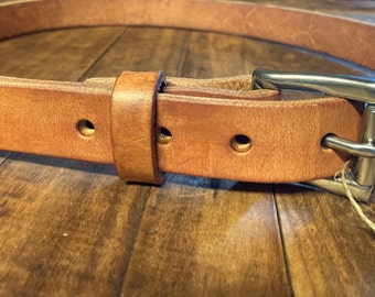 Hermann Oak Harness Leather narrow casual belt, Made in USA with US hides,  1 inch leather belt