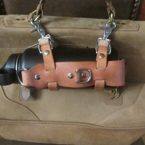 Water Buffalo Leather water bottle carrier bottle  hand made adjustable