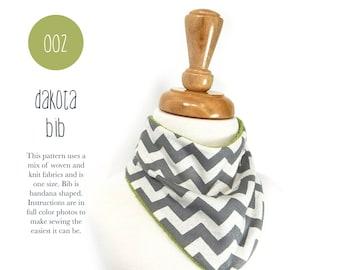 002 Dakota Bandana Bib PDF Sewing Pattern Baby Kid Toddler Bandana Bib One Size Easy to Sew Sadi & Sam