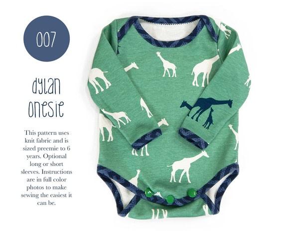 007 Dylan Onesie PDF Sewing Pattern Baby Bodysuit Kids Boy or | Etsy
