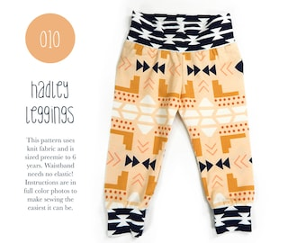 010 Hadley Leggings PDF Sewing Pattern Baby or Kid Toddler Knit Pants Boy or Girl Rib Cuff Preemie to 6T Sadi & Sam