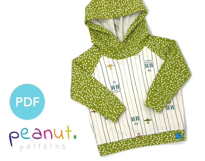 FREE Hoody Sewing Pattern • PDF Sewing Pattern • Baby, Kid, Toddler,  Infant, Child • Peanut Patterns #49 Finley