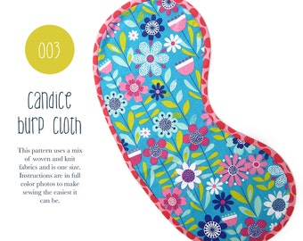 003 Candice Burp Cloth PDF Sewing Pattern Baby Kid Toddler Cloth Spit Up One Size Easy to Sew Sadi & Sam