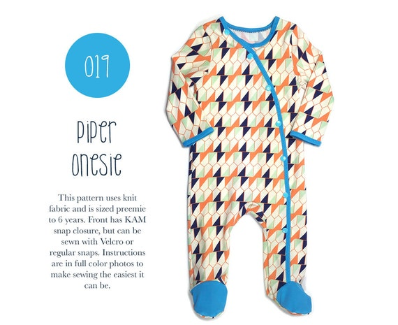019 Piper Footed Onesie PDF Sewing Pattern Baby Kid Knit | Etsy