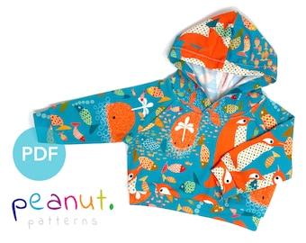 Hoody Sewing Pattern • PDF Sewing Pattern • Baby, Kid, Toddler, Infant, Child • Peanut Patterns #49 Finley