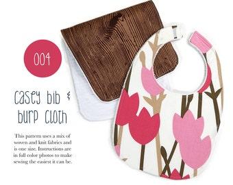 004 Casey Bib and Burp Cloth Set PDF Sewing Pattern Baby Kid Toddler Burp Cloth Bib Set Spit Up One Size Sadi & Sam
