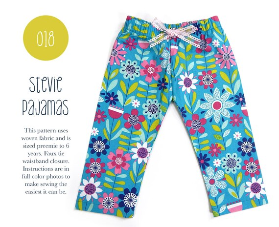 018 Stevie Pajama Pant Woven Pdf Sewing Pattern Kids Baby