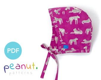 Bonnet Hat Sewing Pattern • PDF Sewing Pattern • Baby, Kid, Toddler, Infant, Child • Peanut Patterns #43 Violet