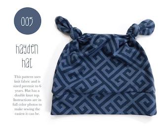 013 Hayden Hat PDF Sewing Pattern Baby Kid Toddler Double Knot Hat Preemie through 6T Sadi & Sam