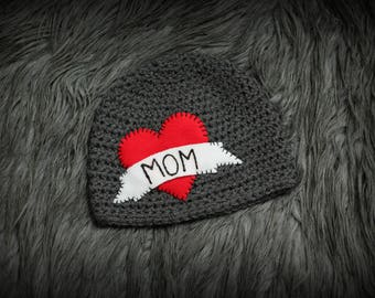 Baby Valentine's Day Crochet Hat Infant Boy Girl Photography Prop Mom Heart Tattoo Gray Love