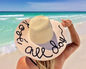 bb0755f82951d Personalized floppy hat - Personalized sun hat - Floppy hat- Floppy beach  hat- Honeymoon hat - Bride gift - just married hat