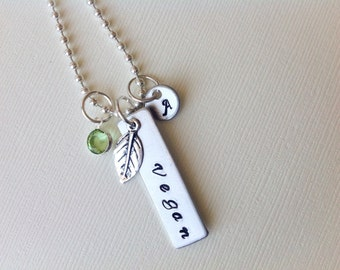 Personalized Vegan Necklace Birthday Gift For Mom Vegetarian Valentine Day Hand Stamped Jewely