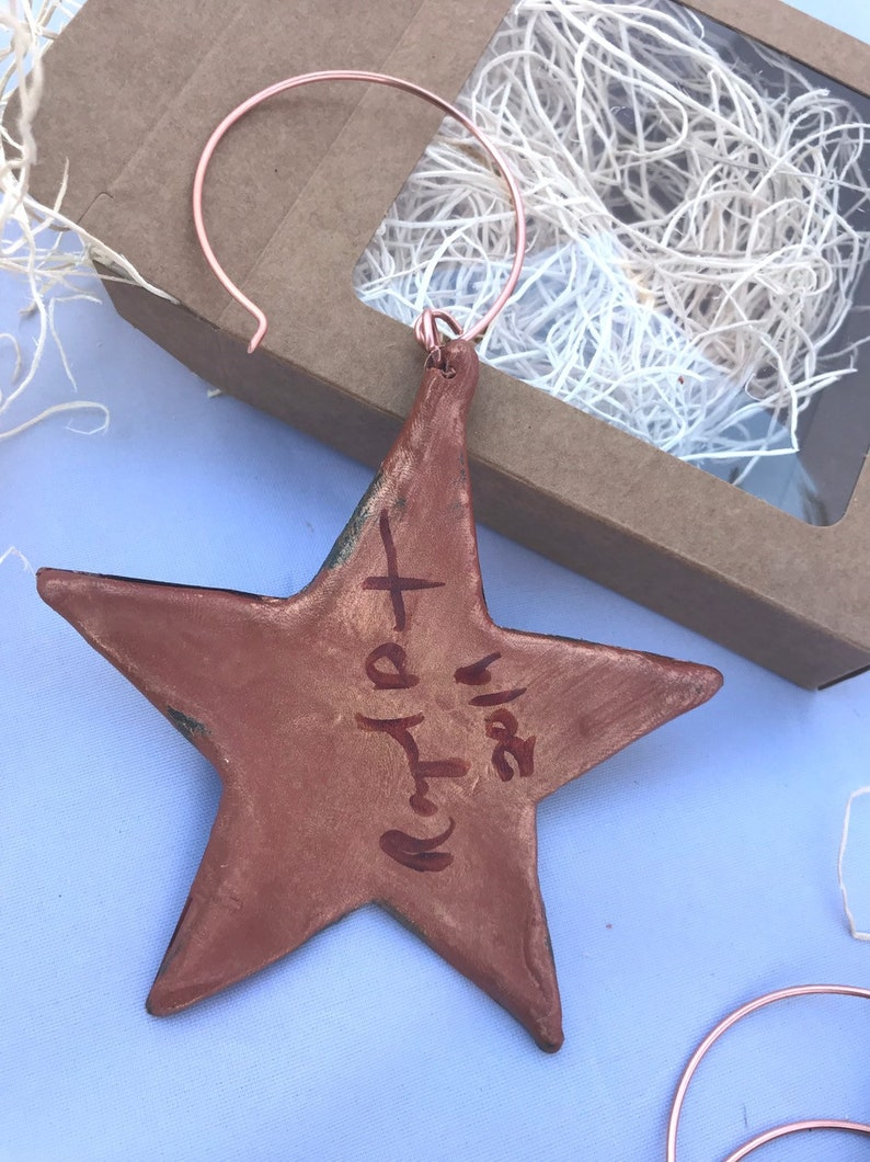 Artist Made Chased Copper Star Ornament Traditional Christmas Series