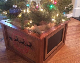 rustic christmas tree planter box tree skirt decorative christmas tree stand enclosure reusable tree planter box home decor