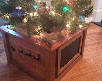 rustic christmas tree planter box tree skirt decorative christmas tree stand enclosure reusable