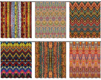 Boho Shower Curtain Bohemian Bathroom Decor Gypsy Fabric Valance Hippie Window Panels